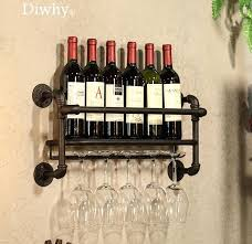 industrial metal wine rack wall mounted bottle holders display kitchen storage holder water