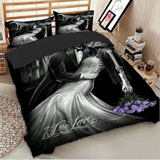 gothic skull quilt duvet cover set with pillow case queen king bedding set new
