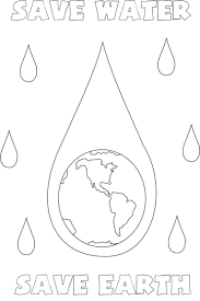 Save water save Earth coloring page for kids