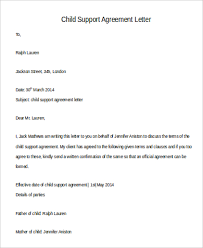 child support agreement letter details child support agreement letter