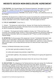 Nda Non Compete Template Free Website Design Non Disclosure Agreement Nda Pdf