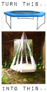 make a hanging bed out of a trampoline