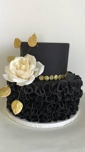 black and gold ruffles cake