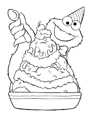 Small Picture Cookie monster coloring pages eating ice cream ColoringStar