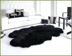 black fur rug large sheepskin fuzzy area black fur rug