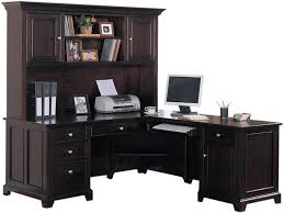 image of wood l shaped desk with hutch