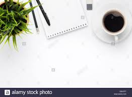 top office table cup. Office Desk Table With Supplies, Coffee Cup And Flower. Top View Copy Space B