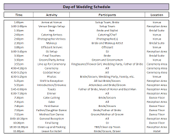 Day Of Wedding Schedule Great Tips For Planning Out Your