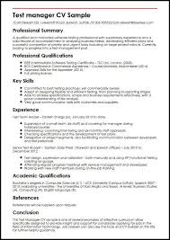 Manager Resume Sample Test Manager Cv Sample Myperfectcv