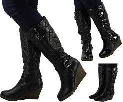 47 best LADIES LONG BOOTS images on Pinterest   High heeled boots ... & Womens ladies knee high mid calf quilted wedge long low heel boots shoes  size Adamdwight.com