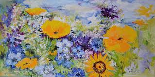 Yellow And <b>Purple Flowers Field Painting</b> by Soos Roxana Gabriela