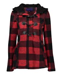 all gone red black plaid hooded pea coat plus