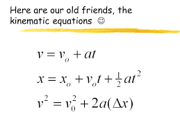 here are our old friends the kinematic equations