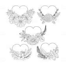 お花のハート形フレーム コレクションは落書きスタイルです本ページを