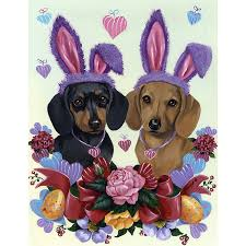 precious pet paintings 1 5 ft x 1 04 ft dachshund easter flag