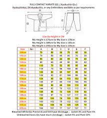 Karate Uniform Size Chart Karate Full Contact Gi
