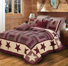 Best 25+ King size quilt sets ideas on Pinterest | King size ... & Burgundy Red Barn Star KING SIZE Quilt Set Primitive Country Charm Bedding Adamdwight.com