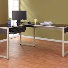 office depot glass computer desk. Computer Frosted Office Depot Metal And Glas Charming Glass Top L Shaped Desk 25 Furniture Black With White Wooden Bases On Brown Laminate