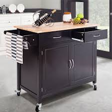 costway rolling kitchen cart island wood top storage trolley cabinet utility modern 0