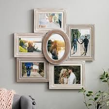 multiple picture frames wood. 6-Opening Wood With Round Center Collage Frame Multiple Picture Frames