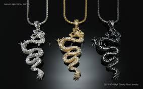 dragon pendant chain necklace 18k gold silver black plated mens jewelry swarovski crystal