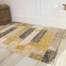 ochre yellow grey striped area rugs nordic modern textured living room rug