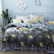 boys kids girls bed linen set pineapple fruit cute bedding set twin queen size duvet cover fit sheet set bedclothes pillowcases bedding sets for girls