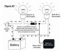 how to guides understanding diodes for example in the circuit illustrated to the left the factory switch controls both bulbs because the current is flowing through the circuit when the