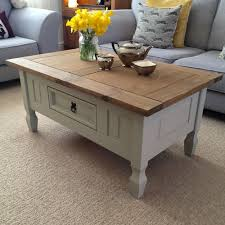 Coffee Table, Fascinating White Rectangle Wood Shabby Chic Coffee Table  With Drawer Idea To Complete