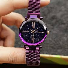 <b>Luxury Star Sky</b> Dial Purple Women <b>Watch</b> Japan Quartz Cutting ...