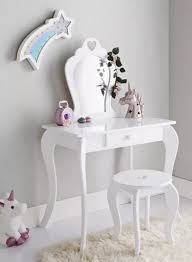 details about children wooden white amelia vanity set dressing table with mirror stool new