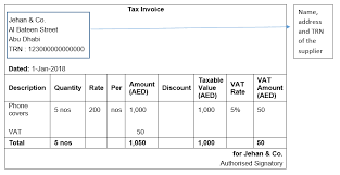 Simplified Tax Invoice Under Vat Tax Invoice Format
