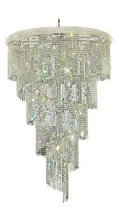 spiral 29 light chrome chandelier clear spectra swarovski crystal