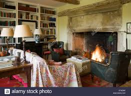 Period Living Room Period House Shabby Chic Sitting Room With A Large Open Fireplace