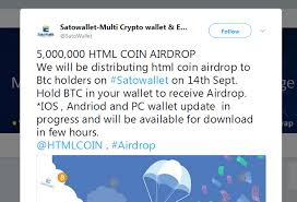 Btc Quote Magnificent HTMLCOIN HTML HTML Airdrop For BTC Holders On SatoWallet Coindarorg