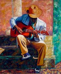 cuban art painting the guitar player by jose manuel abraham