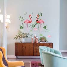 flamingos wall decal sticker home decor diy removable art vinyl mural for living room sofa club qtb620 animal wall decals space wall decals from