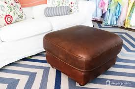 red leather ottoman