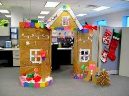 christmas office decoration. Brilliantly Decorated Office Cubicle On Christmas Eve With Cardboards And DIY Crafts Decoration D