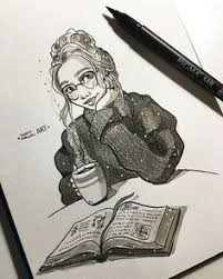 insram photo by juditmallolart inktober day 22 such a gloomy day today just perfect to read a book with a big cup of hot coca note