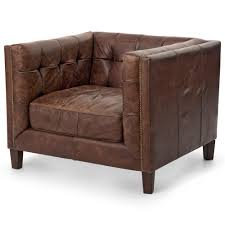 Brown Armchair Christopher Rustic Lodge Tufted Straight Back Brown Leather
