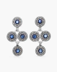 blue and silver tone chandelier earrings