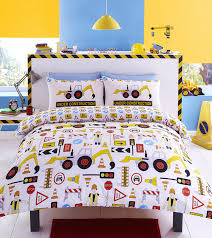33 super ideas childrens duvet covers construction reversible single bed set featuring yellow diggers workmen road signs and traffic lights printed cover
