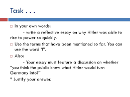 causes of ww and the rise of hitler ppt video online  in your own words write a reflective essay on why
