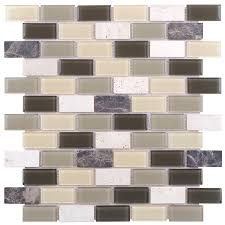 Peel And Stick Kitchen Tile Shop Elida Ceramica Light Olive Brick Mosaic Stone And Glass
