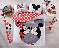 100% Cotton Comforter Set 5 PCS Full Queen Size Disney Minnie Loves Kisses Mickey Mouse Heart Theme Bedding Linens Quilt Doona Cover Sheets Comforter