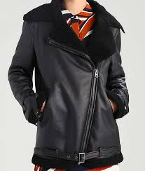 black shearling leather aviator style womens jacket