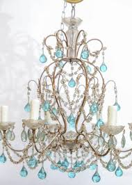this precious petite italian crystal chandelier features blue murano glass drops this fixture would be