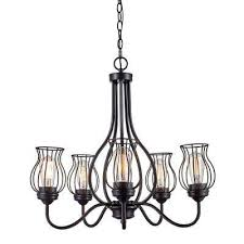 congress 5 light rubbed oil bronze chandelier with wire shades