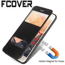 smart front dual for iphone 5 5s 6 6s plus 7 plus flip case magnetic window